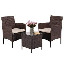 Yaheetech 3 Pieces Patio Furniture Sets PE Rattan Wicker Chairs Beige  Cushion With Table Outdoor Garden Brown Maze Rattan Kingston Corner Sofa Ding Set With Rising Table 2 Seater Egg Chair Bistro In Brown Garden Fniture Outdoor Rattan Wicker Conservatory Outdoor Garden Fniture Patio Cube Table Chair Set 468 Seater Yakoe 8 Chairs With Rain Cover Black Round Chester Hammock 5 Pcs Cushioned Wicker Patio Lawn Cversation 10 Seat Cube Ding Set Modern Coffee And Tea Table Chairs Flower Rattan 6 Seat La Grey Ice Bucket Ratan 36 Jolly Plastic Philippines Small 4 Chocolate Cream Ideal