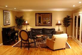 living room decor with wooden floor also wall