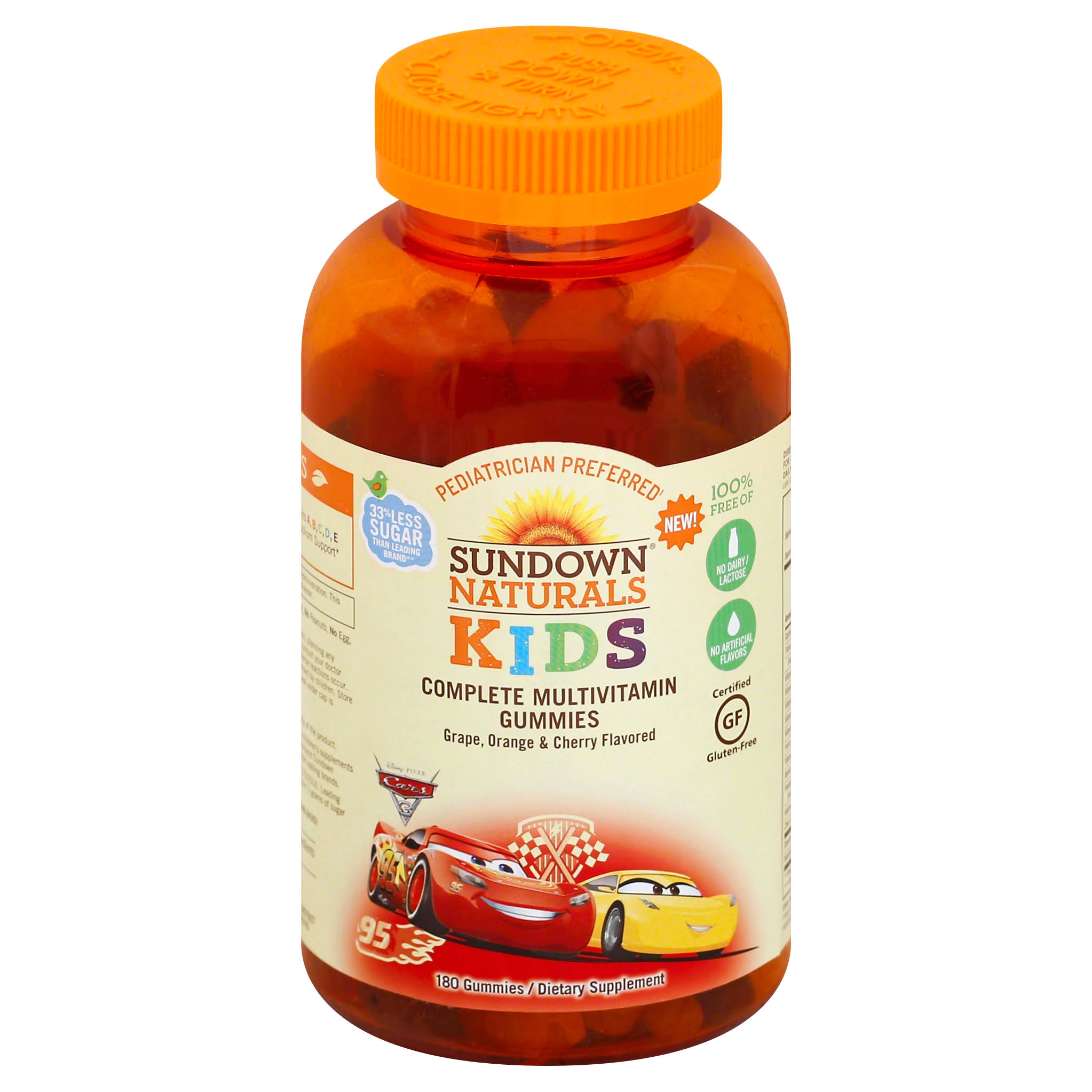 Sundown Naturals Kids Disney Cars 3 Complete Multivitamin Gummies - 180ct
