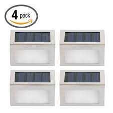 Solar Lights For Deck Stairs by Hoont Pack Of 4 Outdoor Stainless Steel Led Solar Step Light