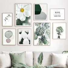 white flower abstract leaf monstera wall canvas painting nordic posters and prints wall pictures for living room home decor no frame wish