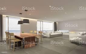 perspektive des modernen luxuswohnzimmer mit holztisch und weißer soda auf meerblick hintergrund idee der familienurlaubwarmes interieur3ddarstellung