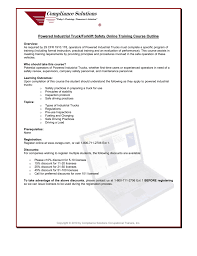 Powered Industrial Truck/Forklift Safety Online Training Course Outline