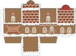Ginger bread house box printable little Christmas village paper