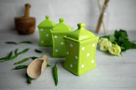 Ceramic Kitchen Canister Sets Lime Green And White Polka Dot Pottery Handmade Painted Small Ceramic Kitchen Herb Spice Jars Canister Set