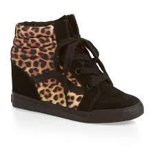 vans sk8 hi wedge shoes leopard black free uk delivery