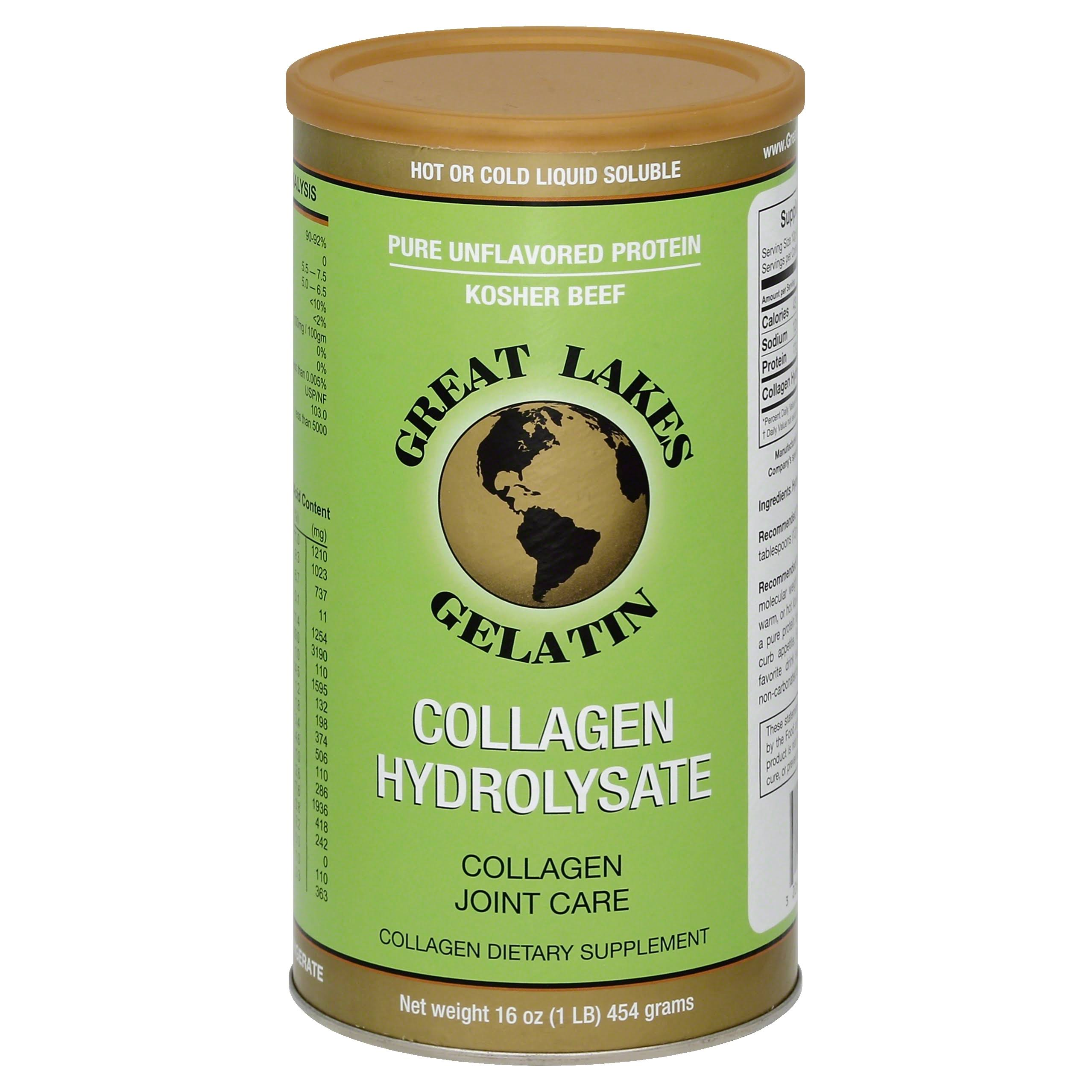 Great Lakes Gelatin Collagen Hydrolysate Beef Kosher - 16oz