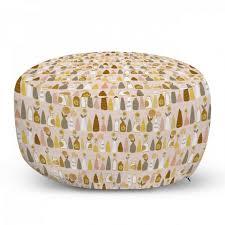 abakuhaus pouf dekorative weiche fußstütze und reißverschlusshülle osmanisches wohn und schlafzimmer blumen blumen in verschiedenen vasen