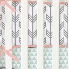 mint coral arrow crib bedding set by caden lane