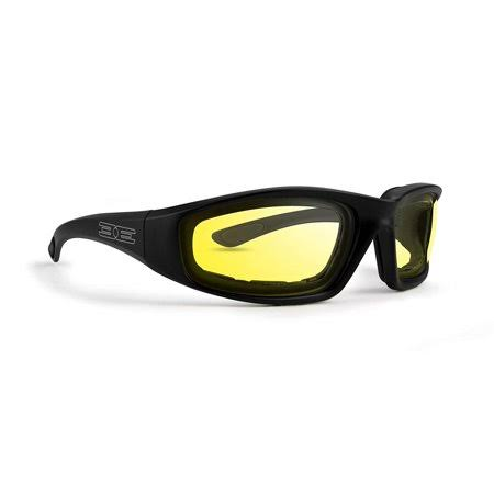 Epoch Foam Padded Motorcycle Sunglasses - Black, Yellow Lenses