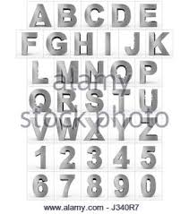 3D Aluminum letters of the alphabet Isolated with shadow on white