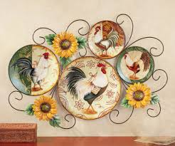 Rooster Decorative Wall Art Country Kitchen Rustic Plate Holder