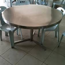 Used Stainless Steel Round Dining Table For Sell In Permas Jaya Jb