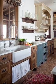 Farmhouse Kitchen Country Rustic Sink Saltillo Tile In A Running Bond Application Touch Free Faucet