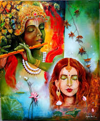 100 Krisana Krishna Sang Radha ART_82_16737 Handpainted Art Painting 35in X 42in