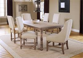 Hartland 7 Piece Wood Dining Set In Ivory Plus Nailhead Trim For Room Furniture Ideas