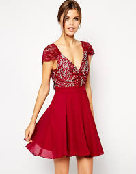 elise ryan lace skater dress with low back in red lyst