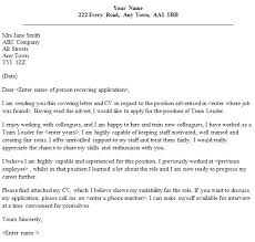 Team Leader Cover Letter Examples Best Cover Letter Examples For