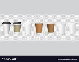 Set Of Paper Coffee Cups On Transparent Background Vector Image