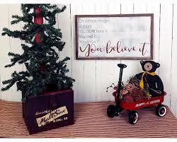 Christmas Magic Framed Modern Farmhouse Wooden Sign Believe