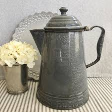 Pretty 8 Gray Enamelware Coffee Pot With Attached Lid