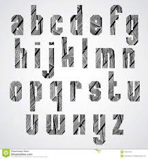 Geometric Shape Bold Poster Letters Condensed Font With Hand Dra