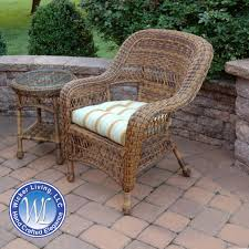Round Wicker Patio End Table Shown With Chair