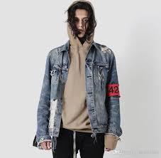 New Mens Denim 424 Jacket Vintage Men Jeans Broken Hole Hip Hop Yeezus Streetwear Rock Jackets Tops Winter Coat Fitted