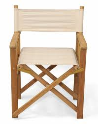 Set Of 2 Natural Teak Directors Chairs With Canvas Tan Colored Sunbrella  Fabric 35