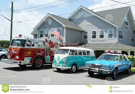 Fire Truck, 1966 Volkswagen Bus Vanagon And Old NYPD Plymouth Police ...