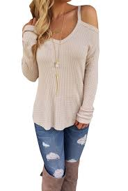 dokotoo womens cold open shoulder loose knitted sweater top blouse