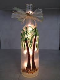 Decorative Wine Bottles Diy by Palm Trees Lighted Hand Painted Wine Bottle Things I U0027ve Made