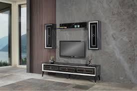 granit tv wand silber