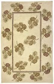 Birch Pine C Julie Ingleman A Wool Hooked Area Rug Featuring Cones Comes In Great Sizes And Runner