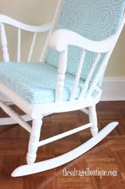 Grandpa's Rocking Chair Brightened Up For New Baby Nursery ... Leisure Made Pearson Antique White Wicker Outdoor Rocking Chair With Tan Cushions 2pack Wrought Iron Fniture Tables Marvelous Metal Chairs Coral Coast Cove Retro Arm Vintage Sewing Caddy Pin Cushion Gripper Jumbo Nouveau Scenic Table Retrovintage Chair Vintage Rocking Collage Makeover Charles Eames Style Cool Plastic Bright Fabric Lumber Armchairs