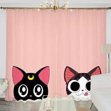 anime sailor moon katze rosa 2 panels set fenster