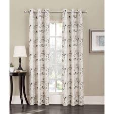 Walmart Grommet Blackout Curtains by Sun Zero Belinda Scroll Print Thermal Insulted Energy Efficient