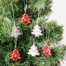 Christmas Tree Toppers Uk by Set Of 6 Christmas Tree Shaped Decorations