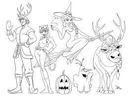 Elsa And The Gang On Halloween Coloring Page From R FrozenMIC