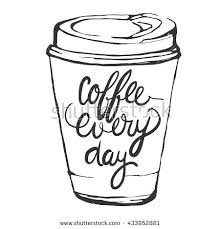 Cool Coffee Cup Drawing Interesting Hand Drawn Vector Illustration Cute