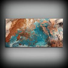 Copper Coastal Painting X Acrylic On Canvas Abstract Contemporary Art Large Wall By L Dawning Scott Diy