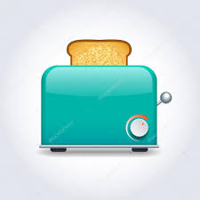 Turquoise Toaster With Toast Stock Vector