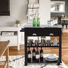 Rolling Kitchen Island Trolley Cart With White Drawer In