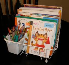 Dish Drain Used For Coloring Book Storage Create A Cheap Neat And Easy