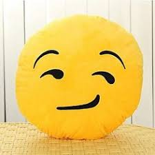13 Inch Emoji Smiley Emoticon Yellow Round Cushion Pillow Stuffed