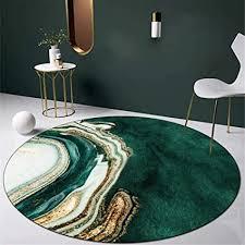 zyyj moderner runder teppich grün und gold abstraktes kunstdesign für wohnzimmer schlafzimmer sofa küche garderobe stuhl matte weicher