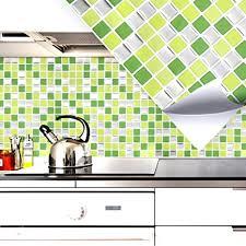 grandora 4er set 25 3 x 25 3 cm fliesenaufkleber hellgrün grün silber mosaik i 3d selbstklebend fliesen küche bad wandaufkleber fliesendekor folie