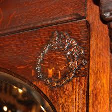 Tiger Oak Dresser Beveled Mirror by Antique Figural Oak Fireplace Mantel With Beveled Oval Mirror