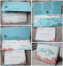Stunning Tiffany Blue Teal Red Beach Coral Horizontal Wedding Invitations With Pocket