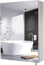 homfa spiegelschrank edelstahl badezimmerspiegel badspiegel wandschrank fürs bad wasserdicht 45x60x13cm